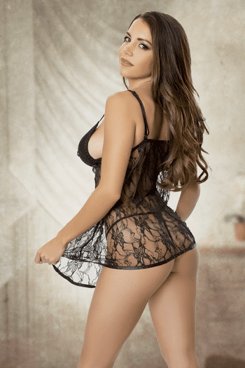 Stay With Me Tonight Black Lace Babydoll
