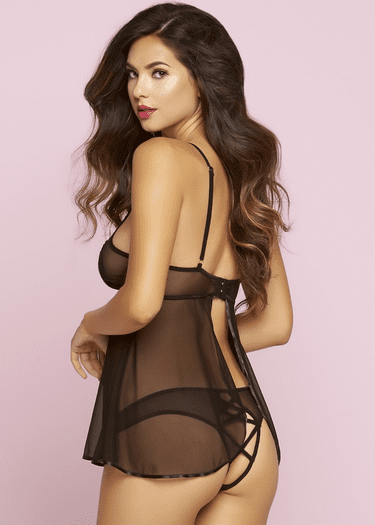 Steal The Spot Light Sheer Babydoll & Panty Set