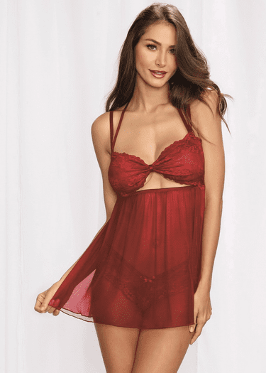 Stealing Kisses Lace Babydoll & Panty Set