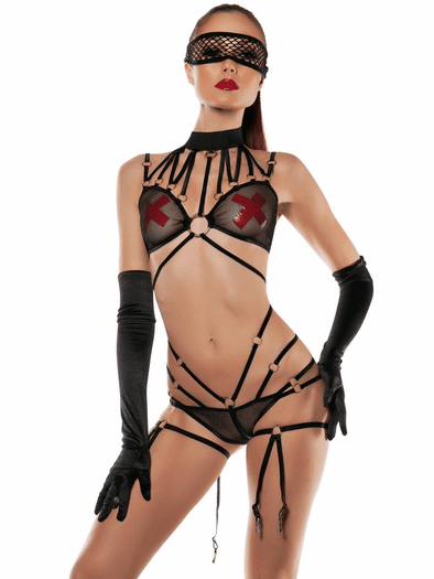Strap Me Down Garter Teddy & Mask Set