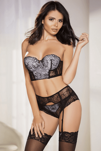 Strapless Lace Bra & Garter Set
