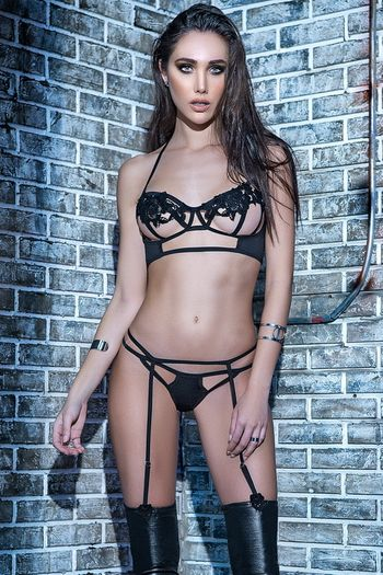 Strappy Black Gartered Bra Set