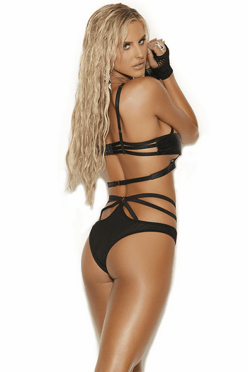 Strappy Caged Leather Bra Set