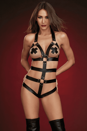 Strappy Faux Leather Open Cup Teddy