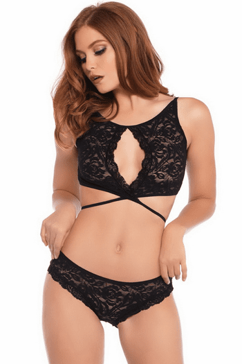 Strappy Lace Bra Set