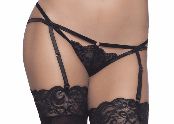 Strappy Lace Gartered Tanga
