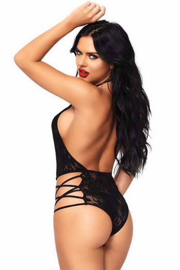 Black Strappy Plunging Lace Teddy