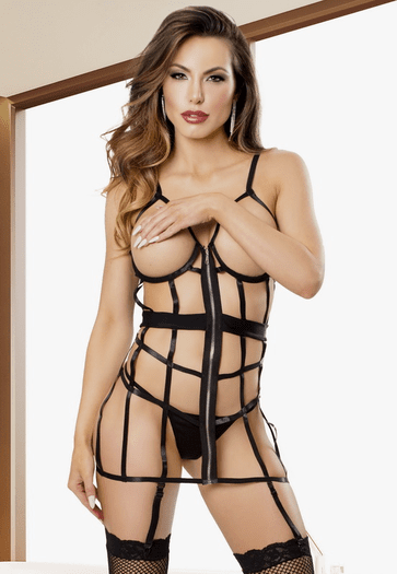 Strappy Open Cup Gartered Chemise & G-String Set