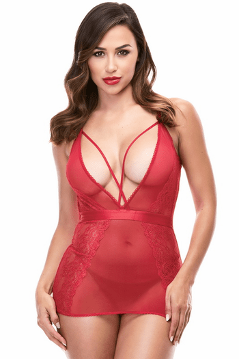 Strappy Red Mini Chemise