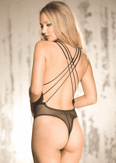 Stretch Lace & Dot Mesh Thong Teddy