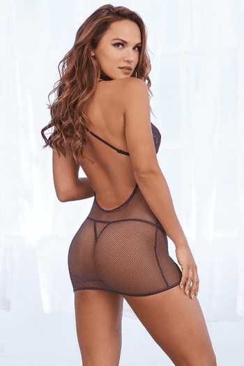 Stretch Lace & Fishnet Collared Chemise
