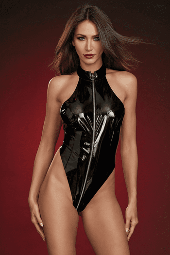 Black Stretch Latex High Neck Teddy & Eye Mask