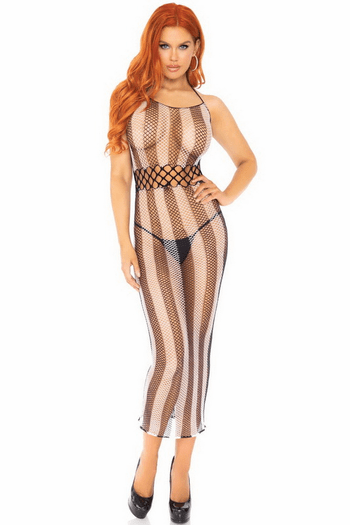 Striped Fishnet Long Halter Dress