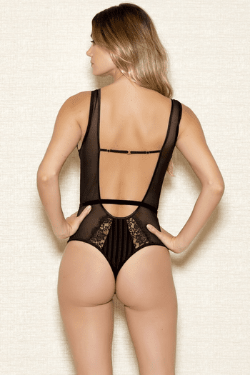 Striped Lace & Mesh Teddy
