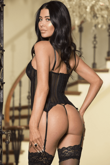 Striped Mesh and Lace Padded Push Up Bustier
