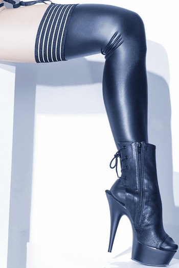 Striped Wet Look Stockings