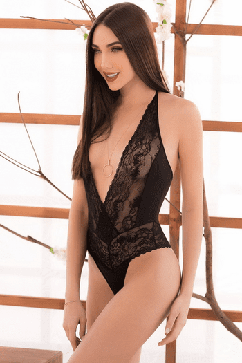 Stunning Black Lace Teddy