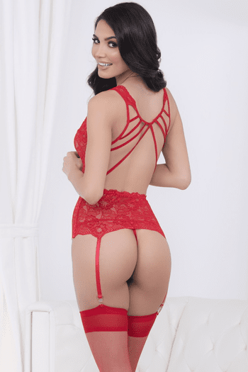 Stunning Red Lace Bustier Set