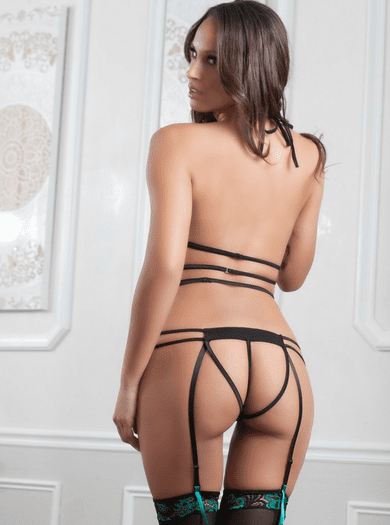 Sultry Open Back Gartered Teddy & Stockings Set