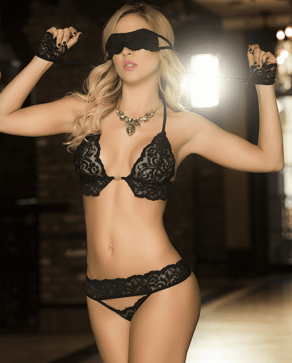 Surrender Your Love Bra, Panty, & Eye Mask Set