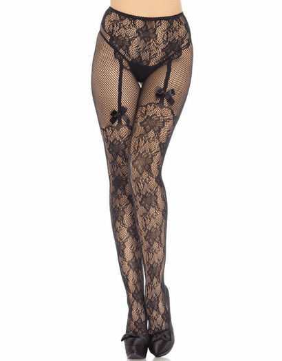 Suspender Illusion Net Crotchless Pantyhose