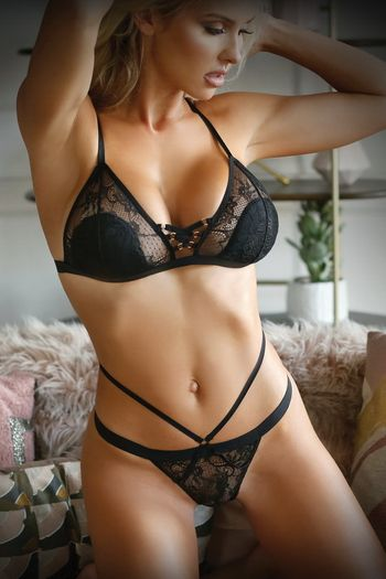 Sweet Spot Black Lace Up Bra & Panty