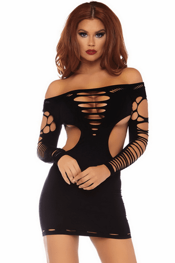 Taking The Night Sexy Shredded Dress