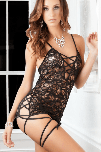 Talk Dirty Lace Chemise & Thong Set