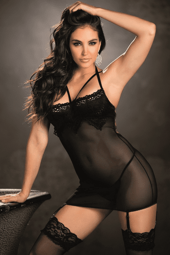 Tantalizing Lace Gartered Chemise & G-String Set