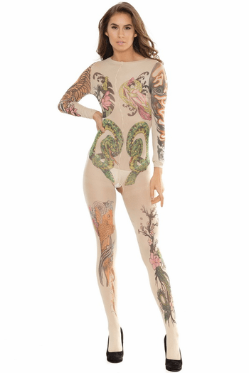 Tattoo Print Bodystocking