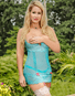 Teal Bliss Open Cup Garter Chemise & Crotchless Thong Set