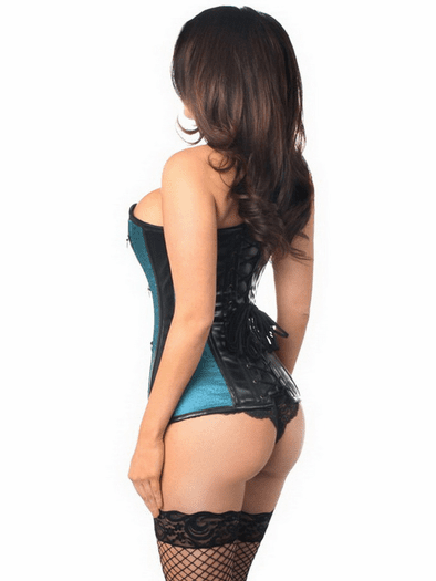 Teal Brocade & Faux Leather Corset