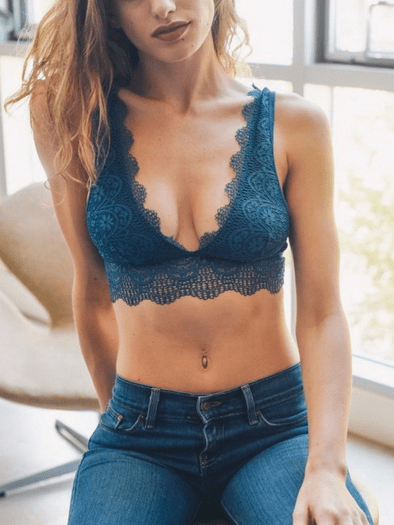 Teal Eyelash Lace Bralette