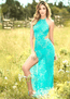 Teal Lace Long Gown & G-String Set
