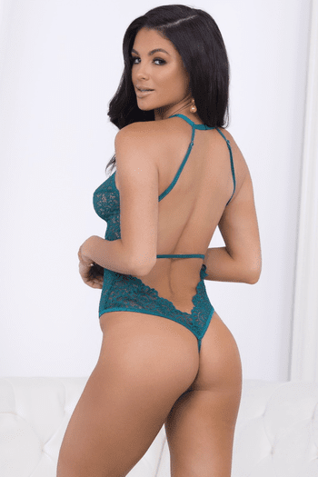 Teal Lace Thong Teddy