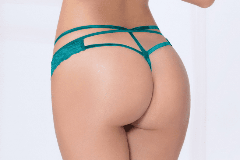 Teal Strappy Lace Thong