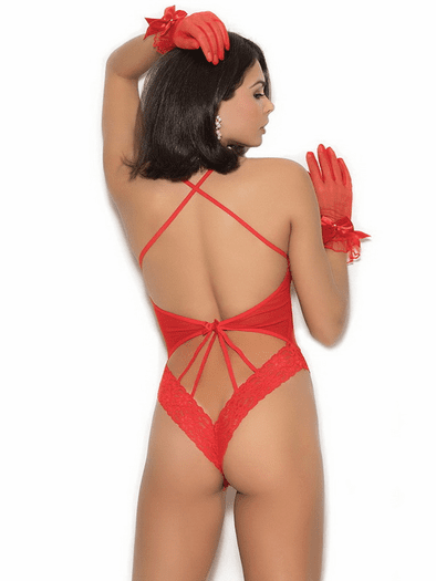 Tease Me Red Lace Teddy & Gloves Set