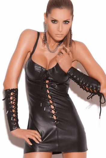 Tease Me & Whip Me Sexy Leather Dress