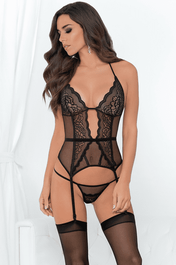 Tempting Fishnet Bustier & Stockings Set