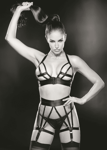 Temptress Strappy Bra, Garterbelt, G-String, & Stockings Set