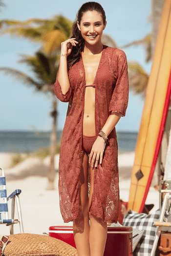 Terracotta Lace Cover Up Kimono