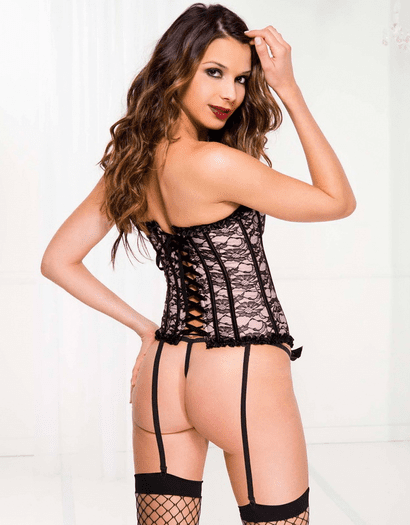 The Pretty Priority Lace Corset & Thong Set