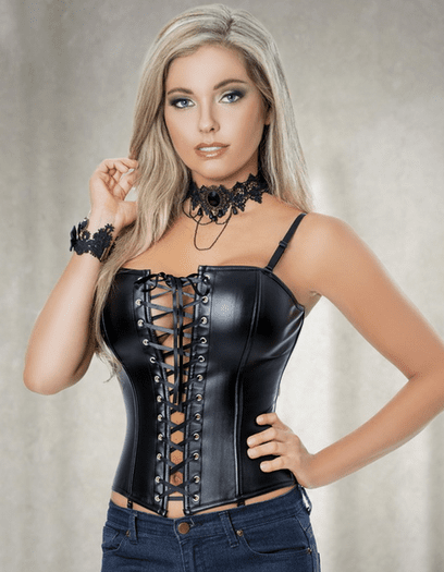 The Sexy One Faux Leather Corset & Skirt Set
