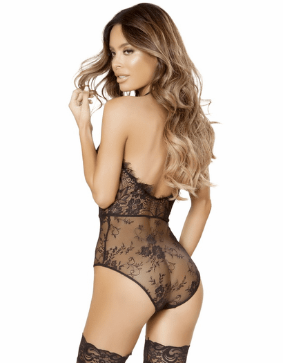 The Temptress Black Lace & Fishnet Teddy