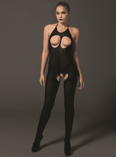 Time To Play Sexy Open Bust Crotchless Fetish Bodystocking