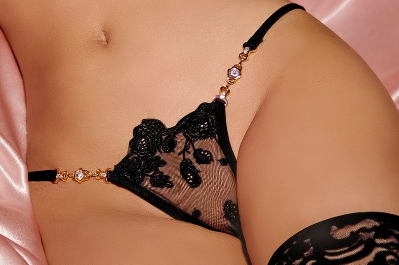 Timeless Elegance Black Lace G-String