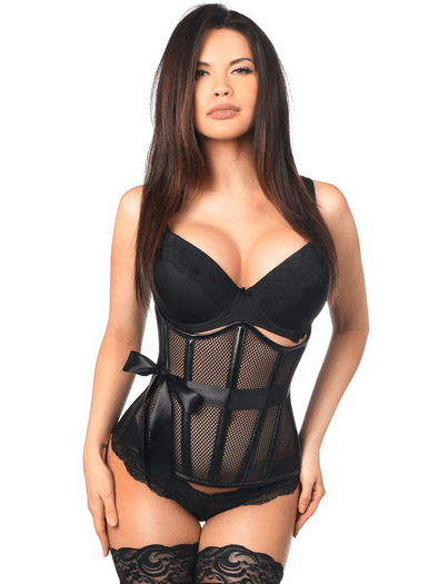 Top Drawer Fishnet & Faux Leather Underbust Corset
