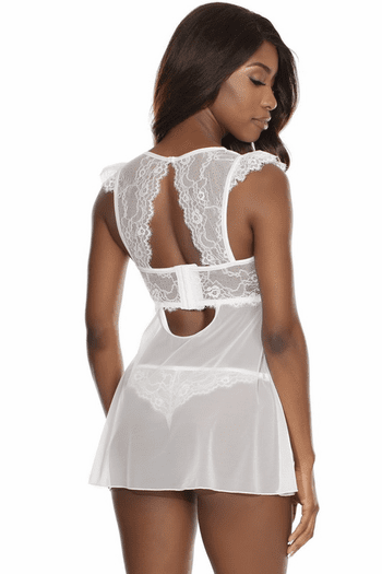 Truly Yours White Lace Babydoll & Thong