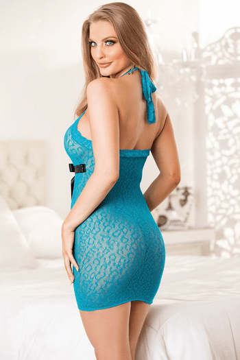 Turquoise Contrast Cupid Lace Chemise