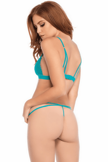 Turquoise Lace Bralette & G-String Set